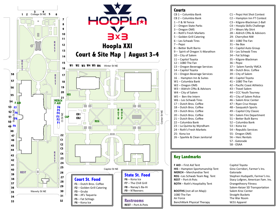 Site & Court Map - Oregon Hoopla - August 8-9, 2020 in Salem ...